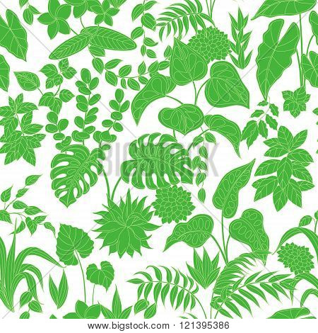 Pattern With Green Tropical Plants