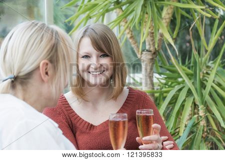 Young redhead woman is talking with blonde middle aged woman sitting in the conservatory. Both women are holding a glass of champagne in their hands. Young woman is smiling into the camera.