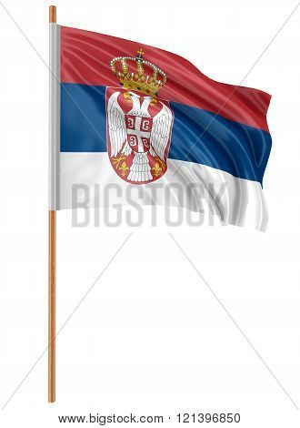 3D Serbian flag with fabric surface texture. White background.