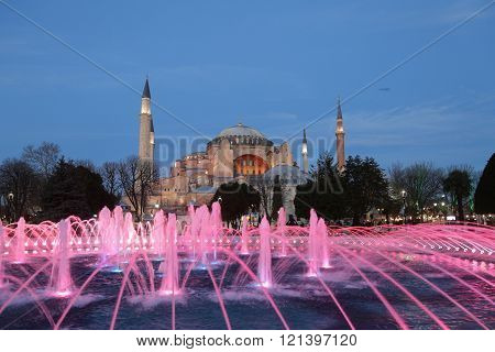 ISTANBUL, TURKEY - JANUARY 09, 2016: Hagia Sophia museum in Istanbul City Turkey. Hagia Sophia was built in 537 than converted into a mosque in 1453 and museum in 1935.