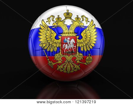 Soccer football with Russian flag. Image with clipping path