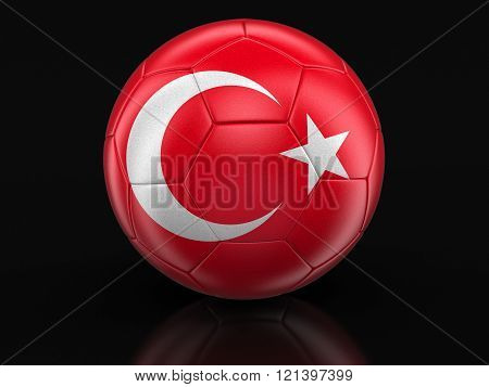 Soccer football with Turkish flag. Image with clipping path