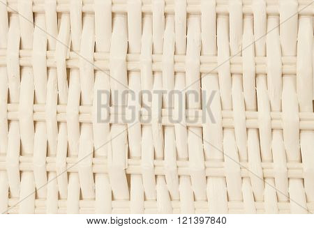 Background Pattern White Square Handicraft Weave Texture Wicker Surface for Furniture Material.