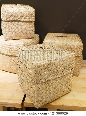 Set Of Four Wicker Baskets Made From Bamboo