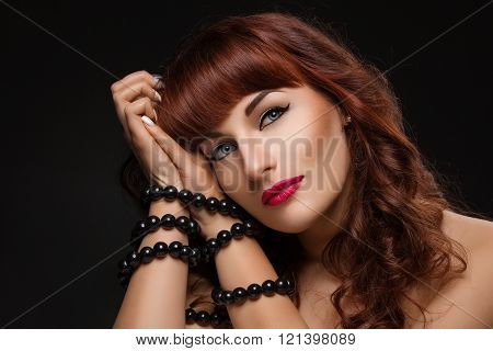 Beautiful girl with bound hands
