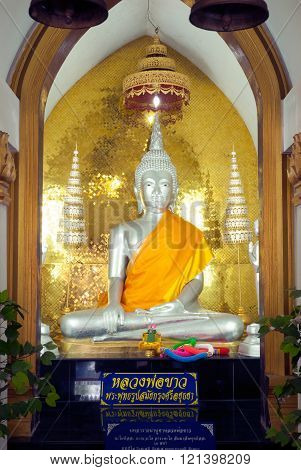 AYUTTHAYA,THAILAND-FEBRUARY 10,2010 : Luang Phro Khao Buddha statue in Wat Na Phra Meru,on February 10,2010  ,This temple is an important one in Ayutthaya Historical park of Thailand, Ayutthaya old capital city in Middle of Thailand.
