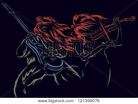 Rock concert of music. Guitarist and violinist