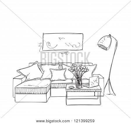 Room interior sketch. Hand drawn sofa.