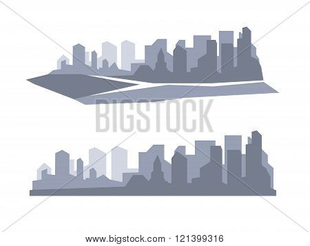 Flat megapolis panorama. Vector background
