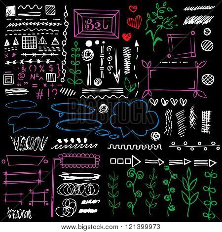 Set of different graphic elements in doodle style. Vector hand-drawn elements - arrows and stripes floral ornament hearts separation strokes and other symbols