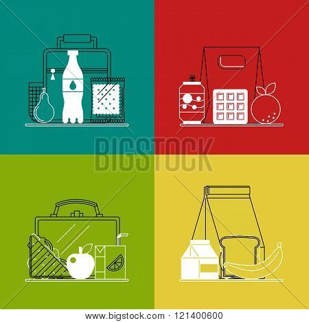 Different lunchboxes on colorful background.