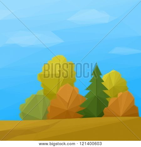 Landscape, Autumn Forest Low Poly