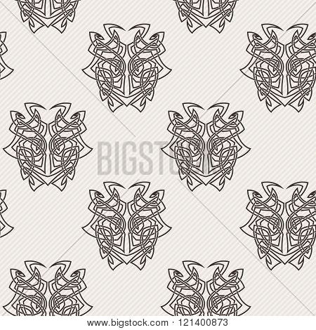 Elegant difficult curled ornamental gothic tattoo seamless pattern. Celtic style. Maori.