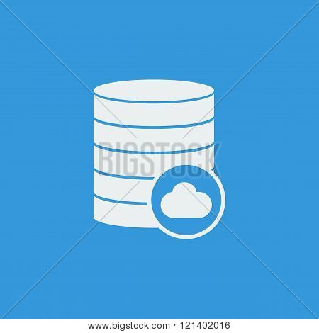 Database-cloud Icon, On Blue Background, White Outline, Large Size Symbol
