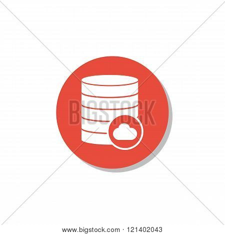 Database-cloud Icon, On White Background, Red Circle Border, White Outline