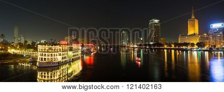 Central Cairo And Nile River At Night