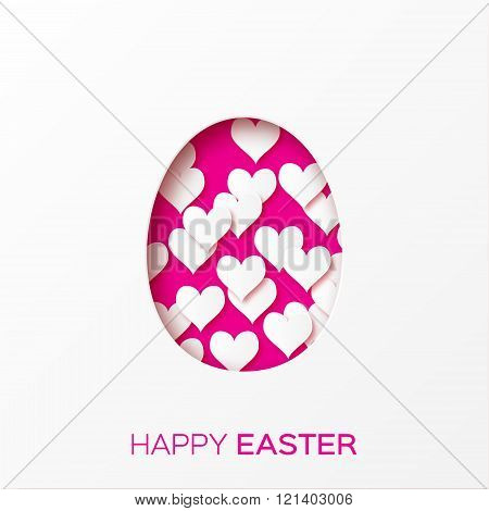 Abstract Pink White Hearts Greeting card - Happy Easter Day - Spring Easter Egg