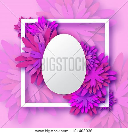 Abstract Purple Floral Greeting card - Happy Easter Day - Spring Easter Egg.