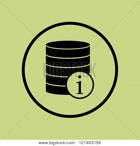 Database-info Icon, On Green Background, Circle Border, Dark Outline