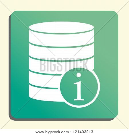 Database-info Icon, On Button Style Green Background, Yellow Light, Shadow