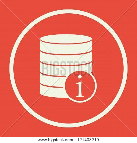 Database-info Icon, On Red Background, White Circle Border, White Outline