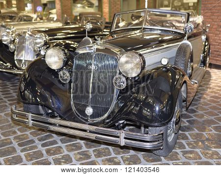 MOSCOWRUSSIA-DECEMBER 15- 853A-Special-Roadster Horch(1937).Max.speedkm/h-135 at the Museum of technique V.Zadorozhnyj on December 15;2015 in Moscow