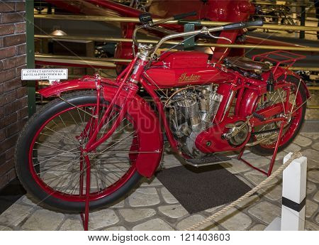 MOSCOW RUSSIA- DECEMBER 15- Motorcycle Indian Big Twin model G1915 at the Museum of technique V.Zadorozhnyj on December 15; 2015 in Moscow