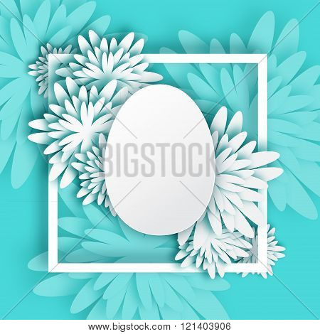 Abstract White Blue Greeting card - Happy Easter Day - Spring Easter Egg.