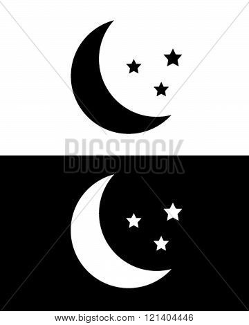 Moon and Stars Graphic in Black and Reverse