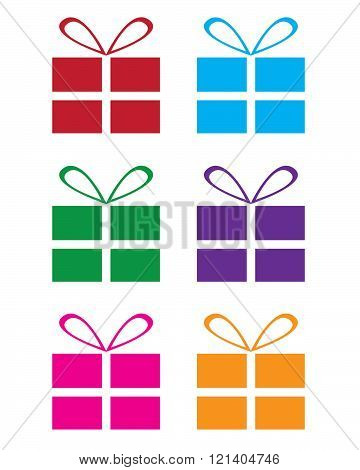 A collection of simple colourful present icons