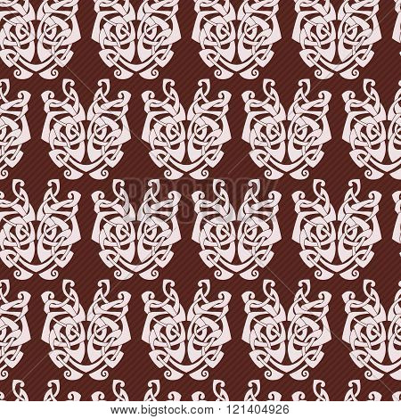 Elegant difficult curled ornamental gothic tattoo seamless pattern. Celtic style. Maori.