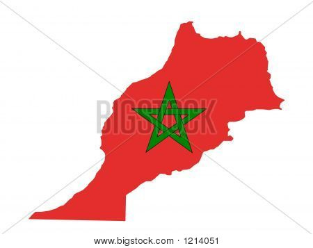 Picture or Photo of Map of morroco and morrocan flag illustration