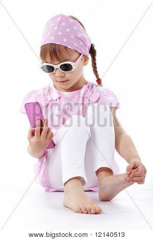Fashion little girl studio series over white