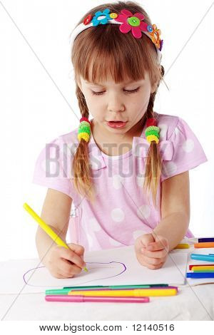 Child painting isolated on white background