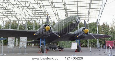 MOSCOW RUSSIA- OCTOBER 7- Il-4- Long-range bomber(USSR)1936.Max.speedkm/h-398 in the Central Museum of the Great Patriotic War on October 7; 2015 in Moscow