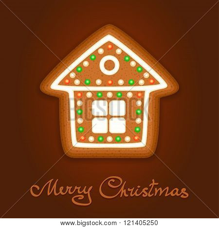 Gingerbread Christmas House Decorated Icing. Holiday Cookie In Shape Of Christmas House