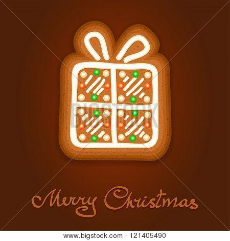Gingerbread Christmas Gift Decorated Icing. Holiday Cookie In Shape Of Christmas Gift