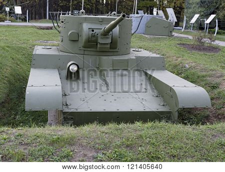 MOSCOW RUSSIA- OCTOBER 7- ?- 46-1- Convertible flame thrower light tank (USSR)1936. Weight t-172 in the Central Museum of the Great Patriotic War on October 7; 2015 in Mosco