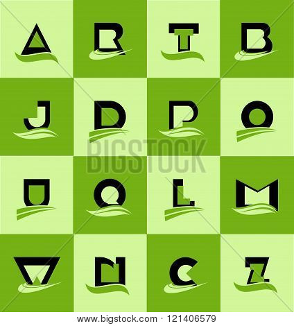 Flat Alphabet Letter Logo Icon Set
