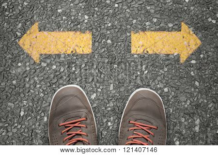 Walking direction on asphalt a difficult choice concept