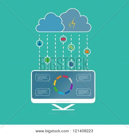 Vector illustration infographics cloud computing in flat style.  Icons cloud service. Data storage n