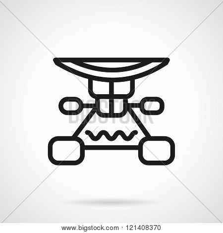 Longboard suspension black line design vector icon