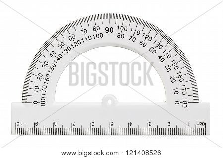 White Transparent Protractor, Isolated On White, with clipping path