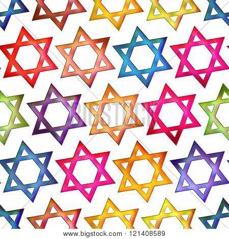 Seamless texture colorful Jewish star