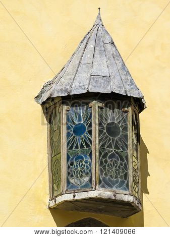 Medieval Window With Stained-glass, Detail Of Old Building In The Old Town