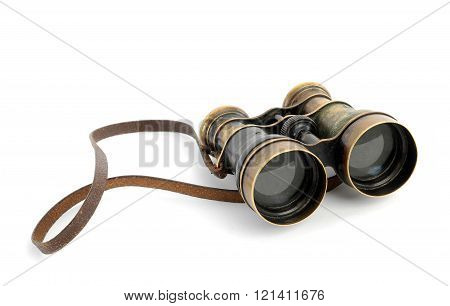 vintage military field glass isolated on white background