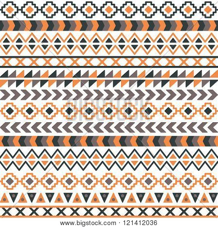 Vector tribal aztec seamless patterns. Ethnic tribal borders. Tribal elements isolated. Boho folk navajo frames. Tribal design. Geometric tribal background