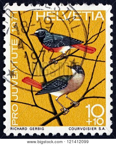 Postage Stamp Switzerland 1971 European Redstart, Small Passerine Bird