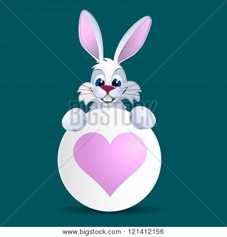 White Rabbit Hold Banner With Heart.
