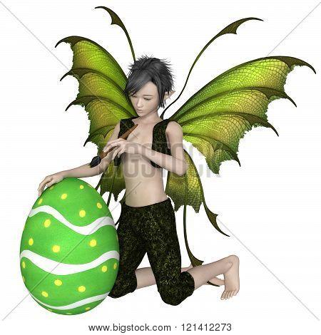 Fairy Boy Painting an Easter Egg